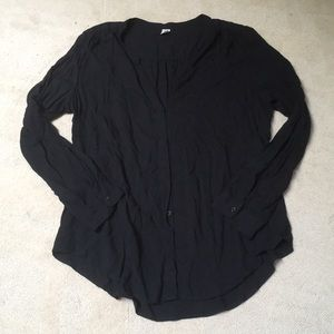 Old navy black button down work blouse no collar